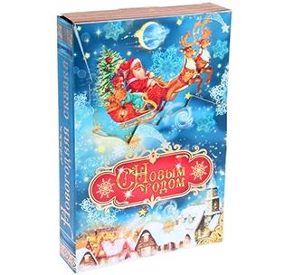 Новогодняя коробка С Новым годом с объемной открыткой