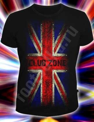"""Клубная черная футболка с британским флагом и надписью  """"Club Zone """"."""