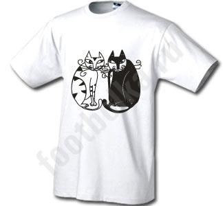 Футболка Черная кошка белый кот
