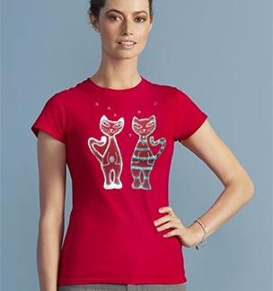 Футболка красная 2 кота авторская роспись SALE