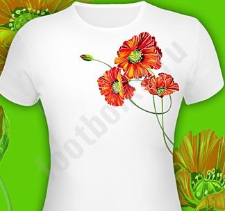 """Однотонная женская футболка с коротким рукавом.  Принт  """"Маки """" светиться..."""