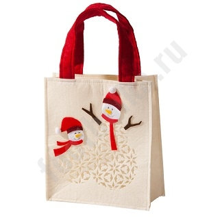 Сумочка для подарка Снеговики арт6255