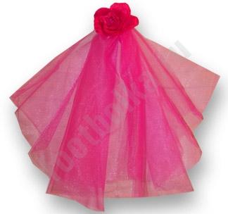 Фата на девичник Цветок розовая