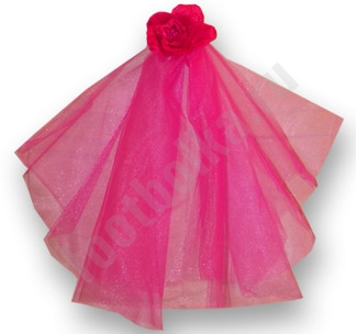 Фата для девичника Цветок розовая