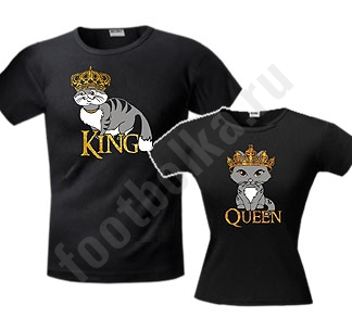 Парные футболки King сat Queen cat