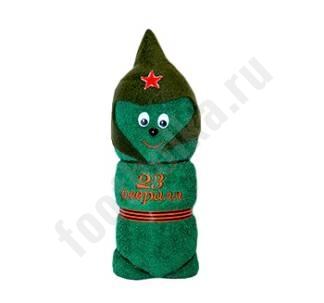 Полотенце солдатик  23 февраля зеленое