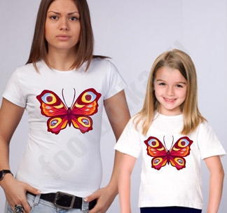 Одинаковые футболки для мамы и дочки Бабочки