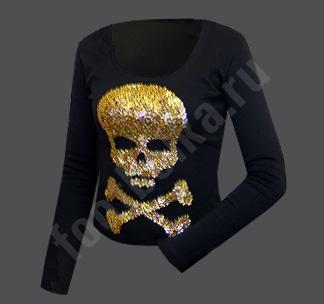 Футболка Золотой череп вышивка