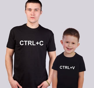 Парные футболки для папы и сына CTRL