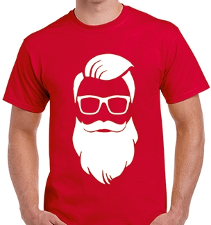 Новогодняя футболка Дед Мороз хипстер