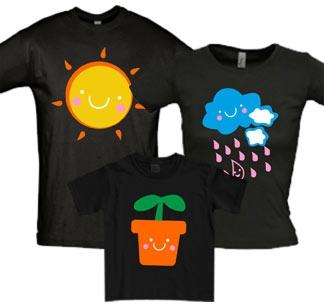 Семейные футболки для троих Тучка солнышко цветочек