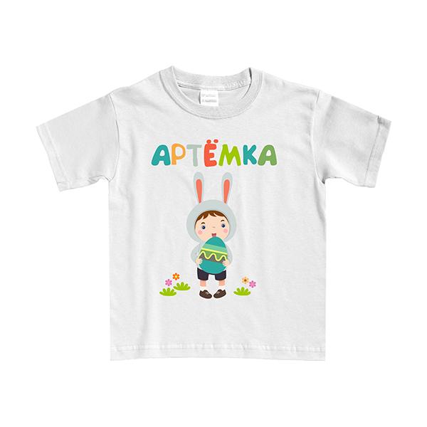 """Детская футболка """"Мальчик-зайчик""""- любое Ваше имя! фото 1"""