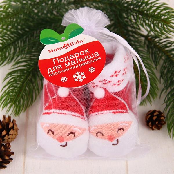 Носочки-погремушки «Дедушка Мороз» фото 1