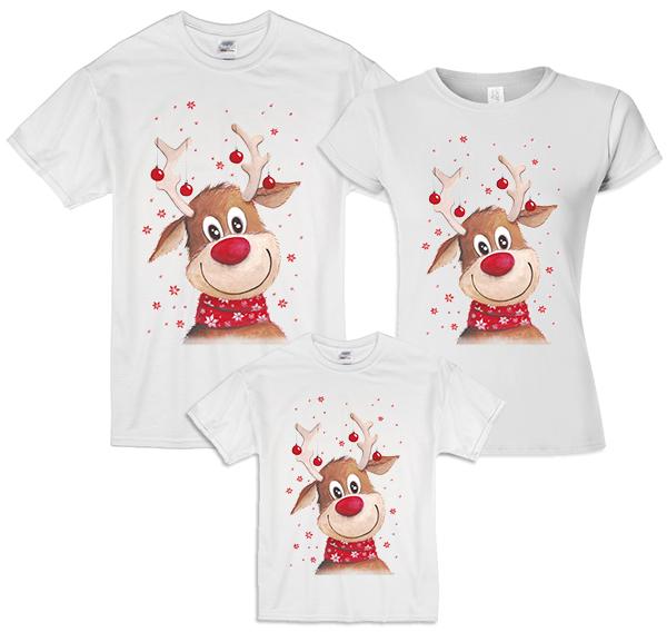 """Новогодние семейные футболки """"С оленем -2"""" фото 1"""