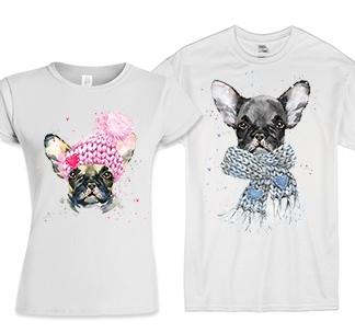 Парные футболки с собаками Французская парочка