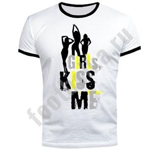 Футболка Girls Kiss me светится в УФ