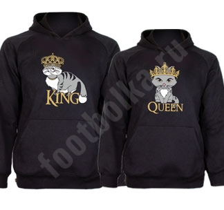 Парные толстовки King сat Queen cat