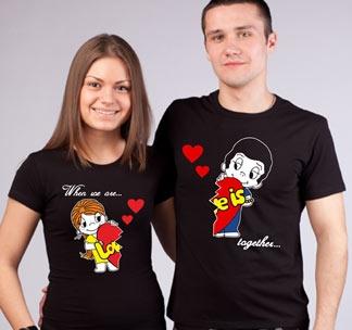 Парные футболки для двоих Love is стрейч черные