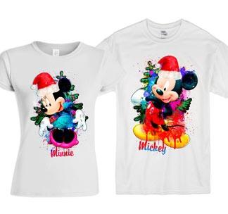 Парные новогодние футболки Микки и Минни  2