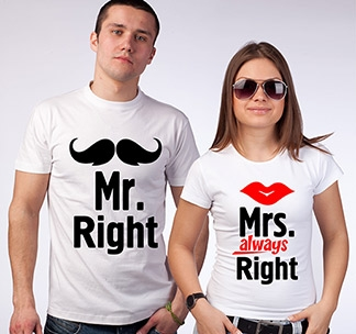 Парные футболки Mr Right Mrs always Right