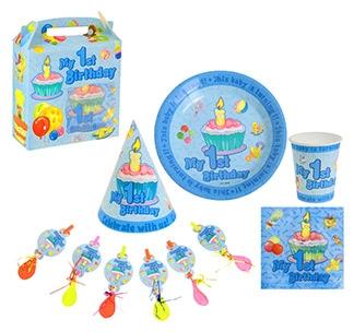 Набор для дня рождения с посудой Мне 1 годик мальчик