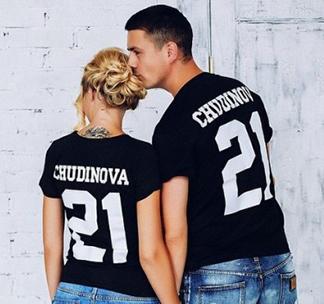 Футболки для двоих Фамилия и номер черные