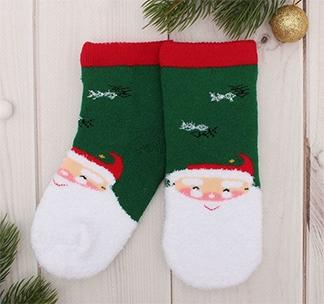 Носки детские Дед Мороз зеленые