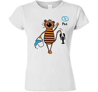 Футболка женская знак зодиака Рак тигр
