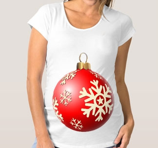 Футболка для беременных Новогодний шар