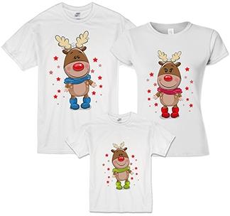 Семейные новогодние футболки Олени