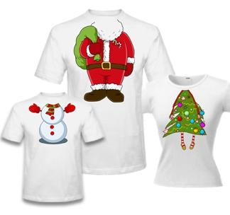 Семейные футболки Дед мороз елка и снеговичок