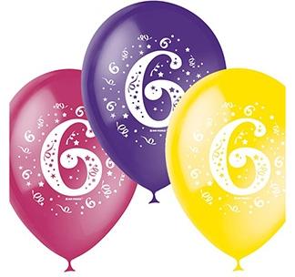 Набор разноцветных шаров 10 шт Цифра 6