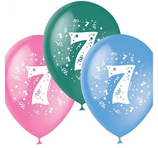 Набор разноцветных шаров 10 шт Цифра 7