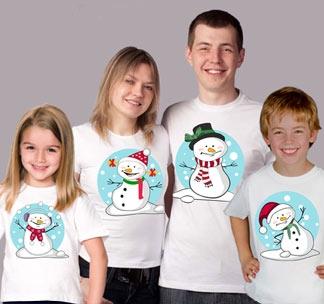 Семейные футболки на четверых Снеговики