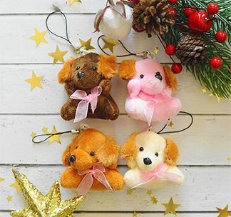 Мягкая игрушкаподвеска на елку Собачка с бантиком