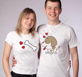 Парные футболки для влюбленных Пес и косточка
