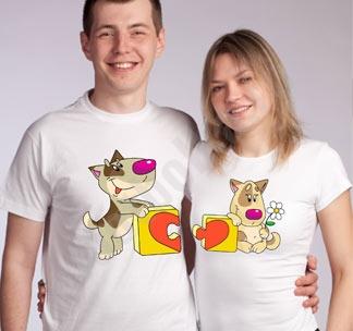 Парные футболки Паззл сердце собачки