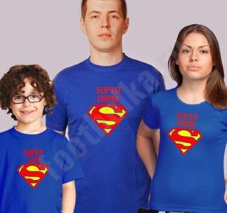 Семейные футболки Супер папа  Супер мама  супер сын