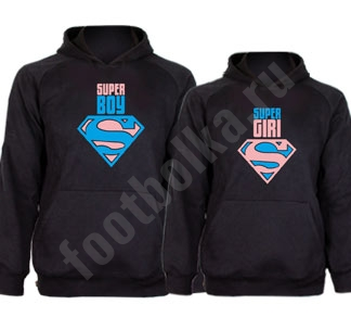 Парные толстовки Super boySuper girl