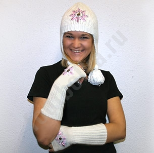 Комплект шапка и митенки Розовая снежинка SALE