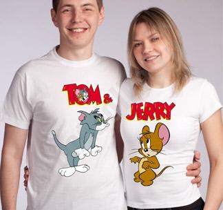 Футболки для влюбленных Tom and Jerry