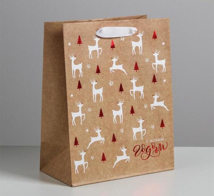 Пакет подарочный новогодний «С оленями»