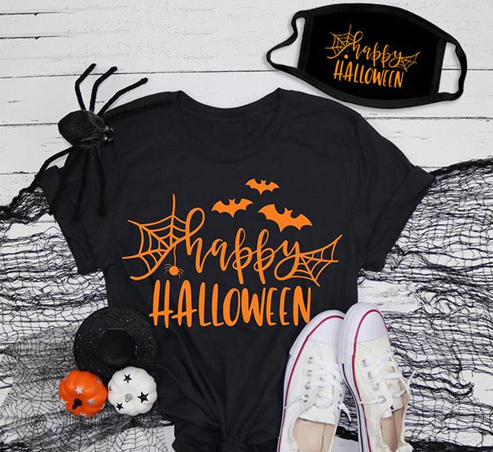 "Женская футболка и маска на хэллоуин ""Happy halloween"" флюор"