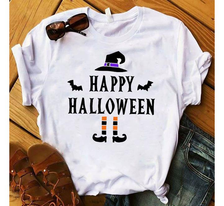 """Футболка женская """"Happy halloween"""" ножки шляпа"""