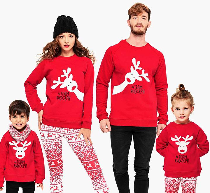 """Новогодние толстовки для семьи на четверых """"Team Rudolph"""" олени"""