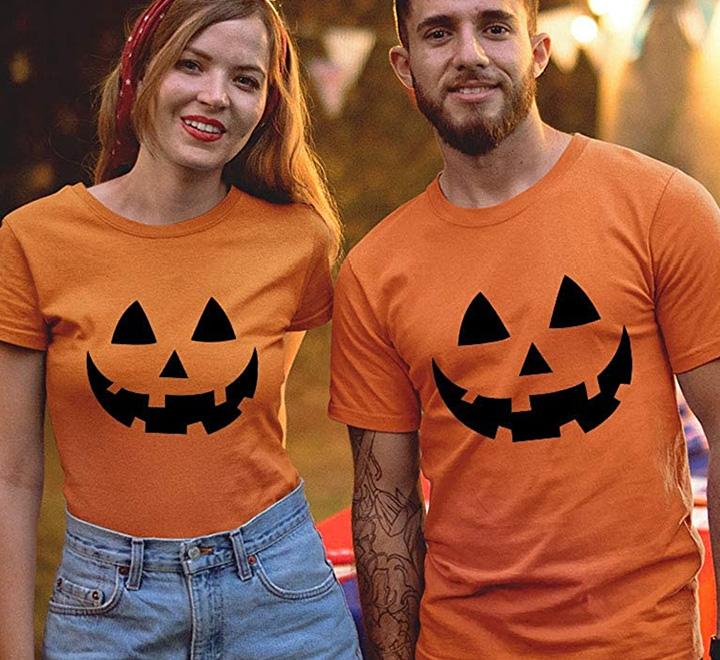 "Парные футболки на хэллоуин  ""Тыквы"""