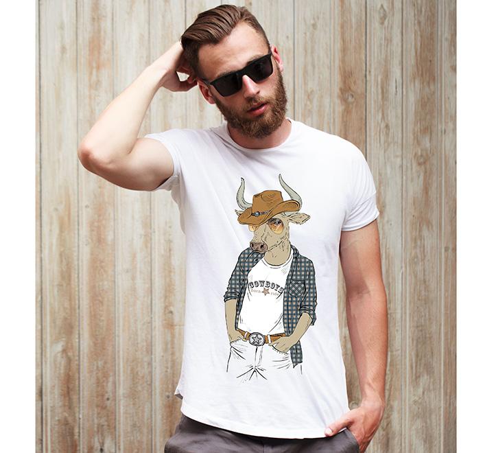 """Футболка с принтом """"Cowboy Bull vintage"""" бык"""