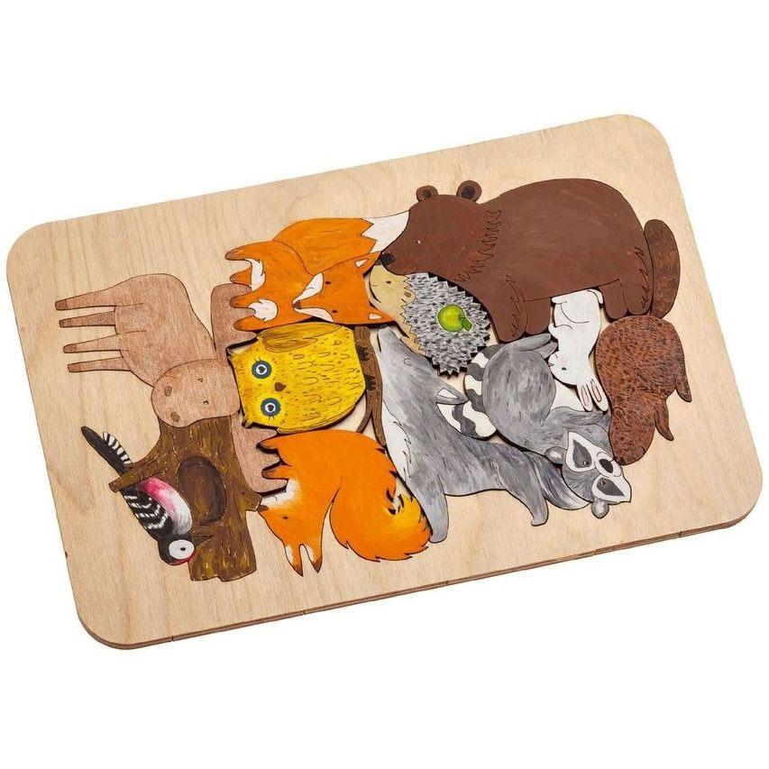 Пазл-раскраска Wood Games, лесные жители