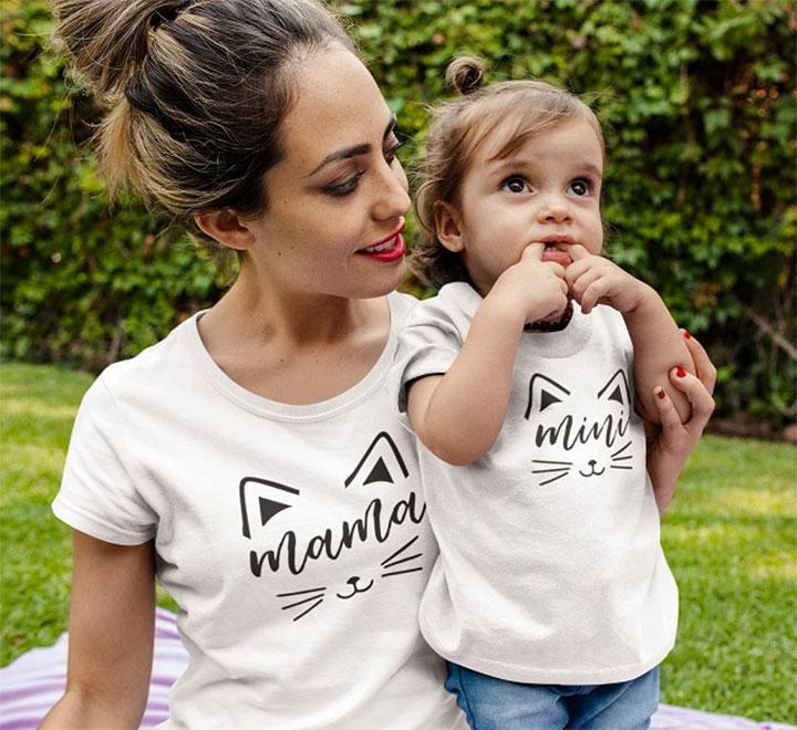 """Комплект футболок для мамы и ребенка """"Котики"""""""