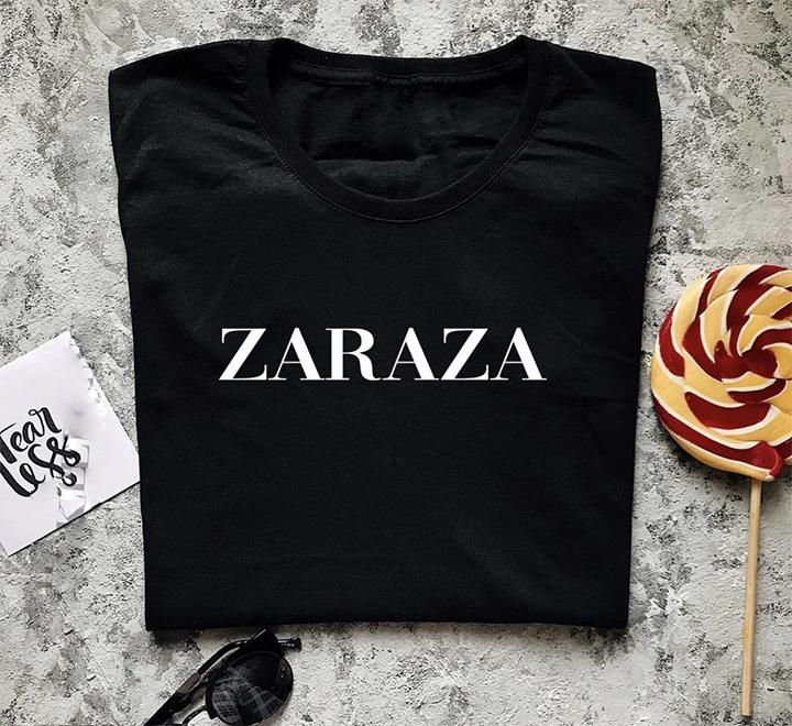 Женская футболка с надписью Zaraza